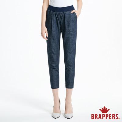 BRAPPERS 女款 Boy friend 系列-女用全棉鬆緊帶八分褲-藍