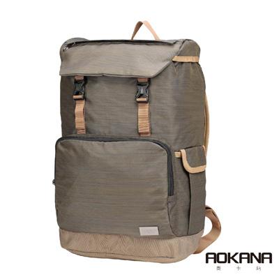 AOKANA奧卡納 輕量防潑水護脊電腦商務後背包(鐵灰棕)68-092