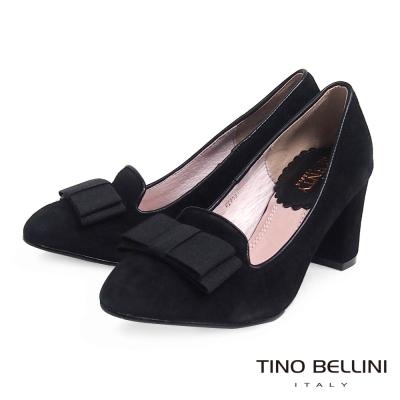 Tino-Bellini-優雅情懷緞帶蝴蝶結樂福粗跟鞋-黑