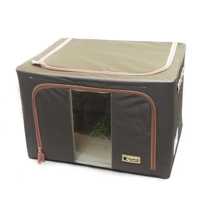 簡約摺疊衣物收納箱(66公升) (紫檀)2入