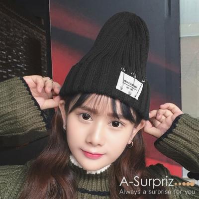 A-Surpriz-活動別針徽章反摺毛線帽-黑