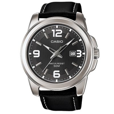 CASIO 簡約經典時尚指針日曆皮帶腕錶(MTP-1314L-8)-灰面/44.9mm
