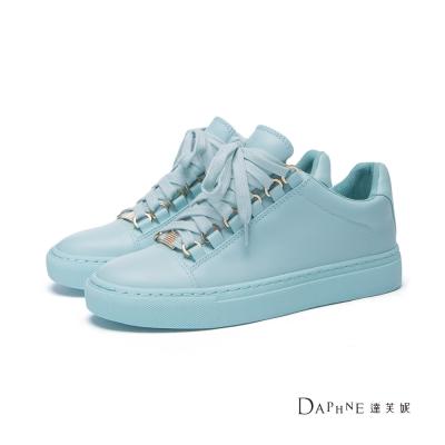 達芙妮DAPHNE 休閒鞋-馬卡龍純色綁帶平底休閒鞋-湖藍