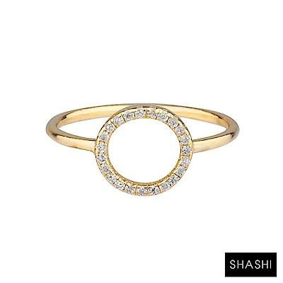 SHASHI 紐約品牌 Circle Pave 鑲鑽圓滿圈圈戒指 925純銀鑲18K金