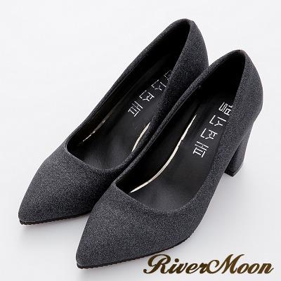 River-Moon高跟鞋-華麗耀眼金蔥粗跟尖頭鞋-黑系