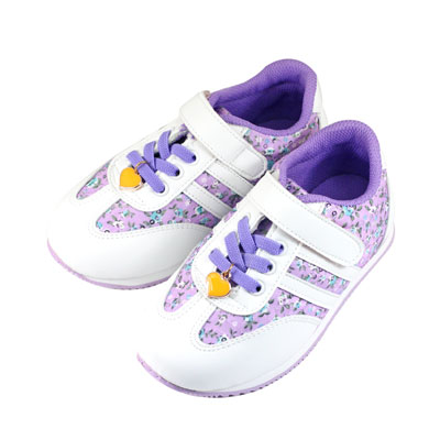 Swan天鵝童鞋-中童-花布愛心吊飾輕量運動鞋 0416-紫