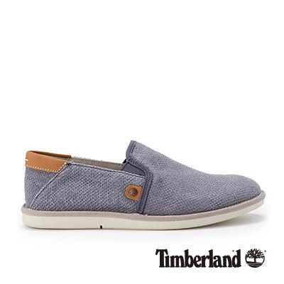 Timberland-男款石板藍亞麻布休閒便鞋