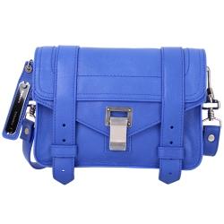 PROENZA SCHOULER PS1 Mini Pouch 銀釦山羊皮革斜背包(藍色)