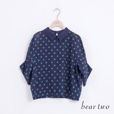 beartwo-襯衫翻領圓點造型雪紡上衣-二色