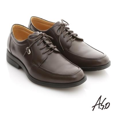 A.S.O 頂級氣墊系列 全真皮綁帶氣墊紳士鞋 咖啡