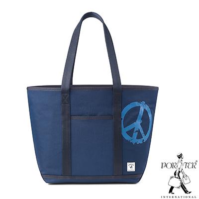 PORTER - 和平主義PEACE NO WAR中型休閒托特包 - 藍