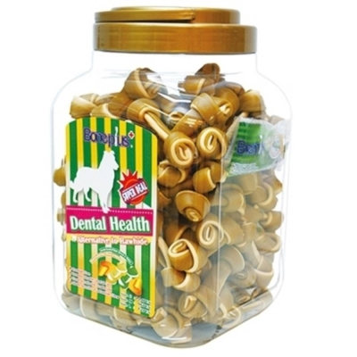 Bone Plus 黃金高鈣迷你潔牙骨結-家庭號《桶裝》