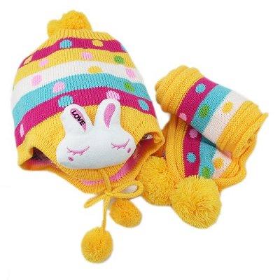 【iSFun】繽紛兔兔*兒童護耳帽+圍巾組/黃