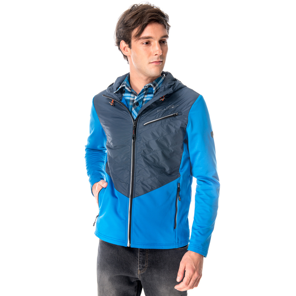【hilltop山頂鳥】男款ZISOFIT連帽保暖排汗外套H22MV0藍