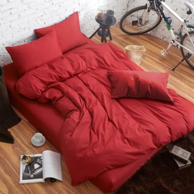舒柔 精梳棉 二件式枕套床包組 單人 大紅 提案