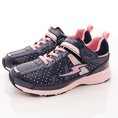 日本月星頂級童鞋 點點防潑水運動鞋 EI095深藍(中大童段)