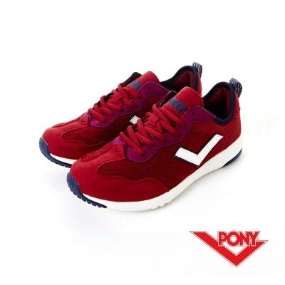 PONY- SOHO+系列-舒適慢跑鞋-酒紅-女