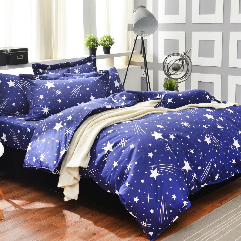 Goelia 流星雨 加大 活性印染超細纖 全鋪棉床包兩用被四件組