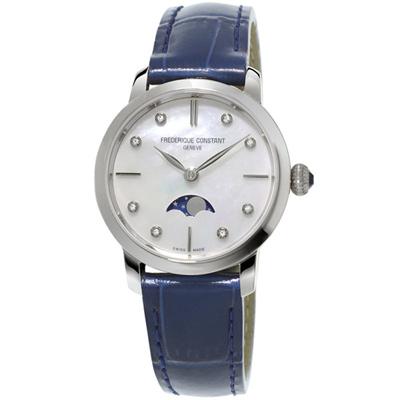 康斯登 CONSTANT SLIMLINE超薄系列月相女腕錶-藍/30mm