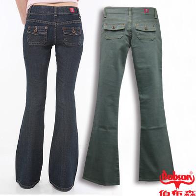 【BOBSON】女款低腰貼口袋中喇叭牛仔褲(灰綠41)