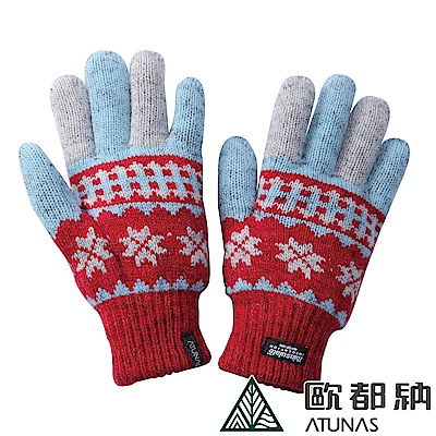 【ATUNAS 歐都納】雪花隨風飄 3 M科技保溫棉針織保暖手套 A-A 1233  紅/藍