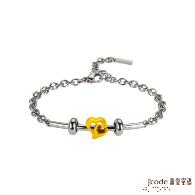 J'code真愛密碼 甜進心坎黃金/白鋼女手鍊