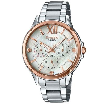 SHEEN 切割玻璃面設計羅馬時刻腕錶(SHE-3056SG-7A)金框X珍珠母貝37.1mm