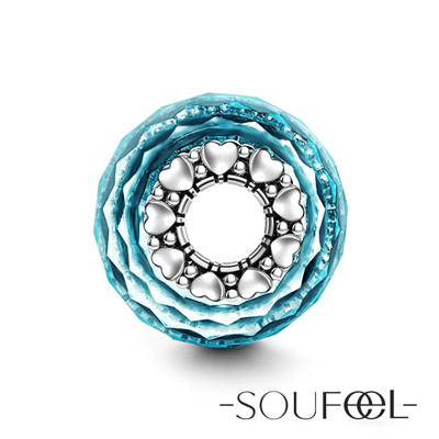 SOUFEEL索菲爾 925純銀珠飾 藍色冰晶B 琉璃珠
