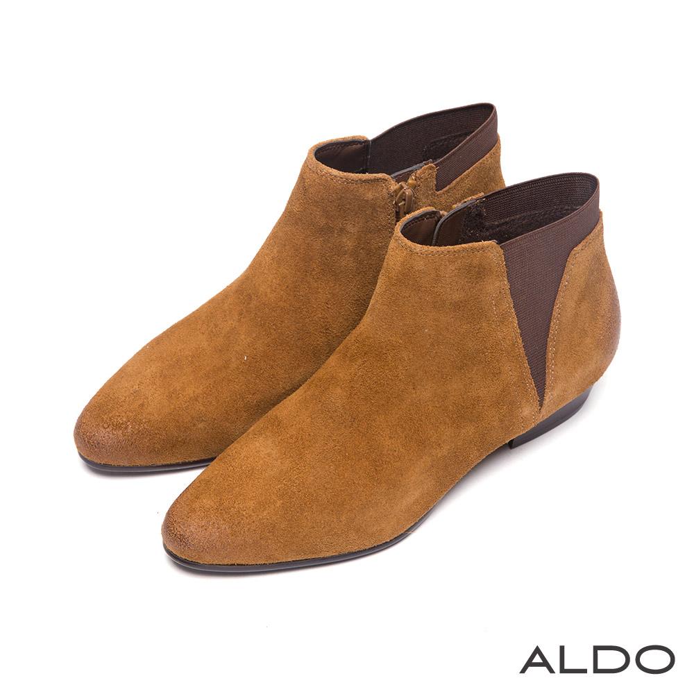 ALDO 北歐個性原色麂皮V字拼接木紋短靴~個性淡棕