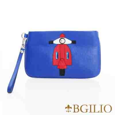義大利BGilio-摩登牛皮童趣造型手拿包(摩托車)-藍色2282.001-09