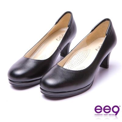 【ee9】芯滿益足-都會優雅通勤私藏經典百搭素面防水台跟鞋*黑色