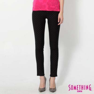 SOMETHING LADIVA點點合身牛仔褲-女-黑色