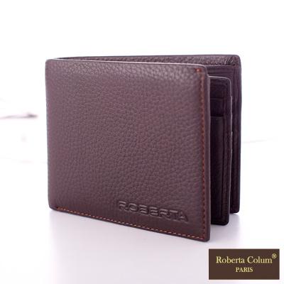 Roberta Colum - 法國荔枝紋軟牛皮左右翻卡片夾短夾-共2色
