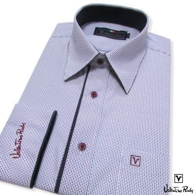 Valentino Rudy范倫鐵諾.路迪-長袖襯衫-白底紫點-暗釘釦