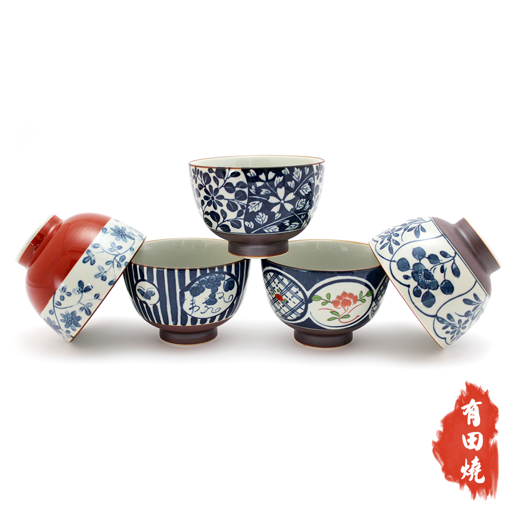 日本西海有田燒古染彩繪高湯碗 5入