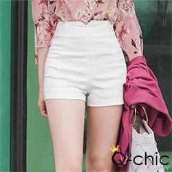 正韓 素面高腰提臀彈力短褲 (共二色)-Q-chic
