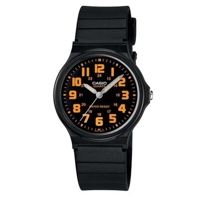 CASIO輕巧實用數字時刻經典指針錶(MQ-71-4B)-黑X橘時刻/34.9mm