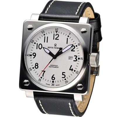 Revue Thommen 領航者飛行機械錶-黑x白/44x44mm