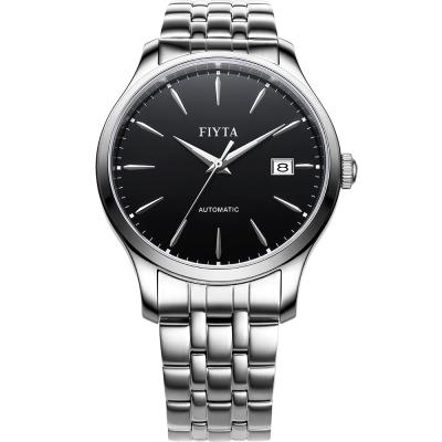 FIYTA飛亞達   經典系列復古機械錶款(WGA1010.WBW)-黑色/40mm