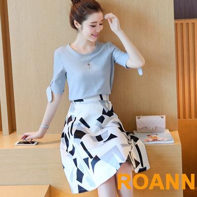 蝴蝶結短袖上衣-高腰印花短裙兩件套-花色-ROAN
