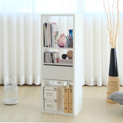 EASY HOME-加厚三格收納櫃附抽屜+活動板-白色(43.4x29x123.1cm)