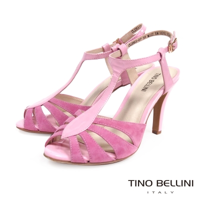 Tino Bellini優美線條T字繫踝高跟涼鞋_粉紅