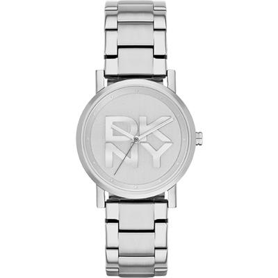 DKNY Soho 摩登品牌大三針腕錶-銀/34mm