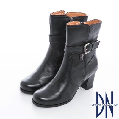 DN 時尚美型 側邊拉鍊釦帶裝飾粗跟短靴 黑