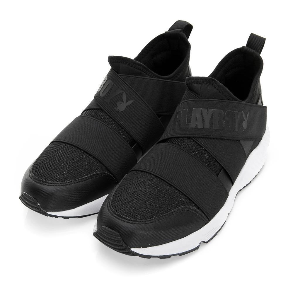 PLAYBOY 發燒話題 交叉繃帶亮蔥休閒鞋-黑(女)
