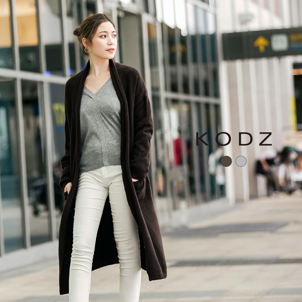 東京著衣-KODZ 歐美時尚翻領設計針織外套-S.M.L(共二色)