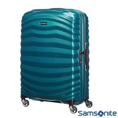 Samsonite新秀麗28吋Lite Shock極輕Curv四輪拉桿頂級硬殼箱(孔雀藍)