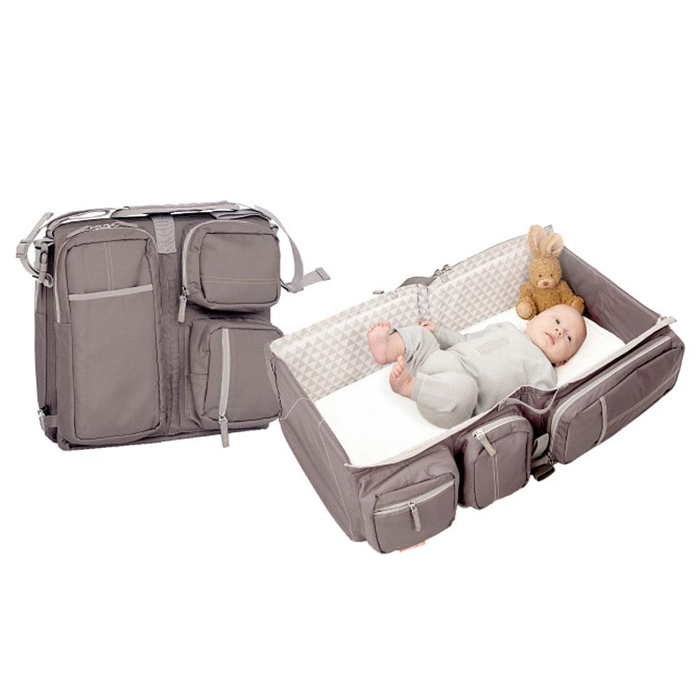 比利時Doomoo 媽咪包寶寶行動眠床-沙褐棕