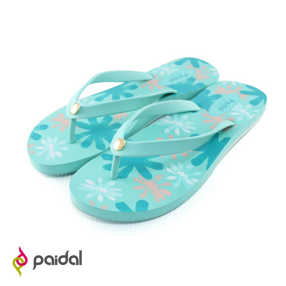 Paidal 手繪風暈彩花朵海灘拖鞋人字拖鞋-薄荷綠
