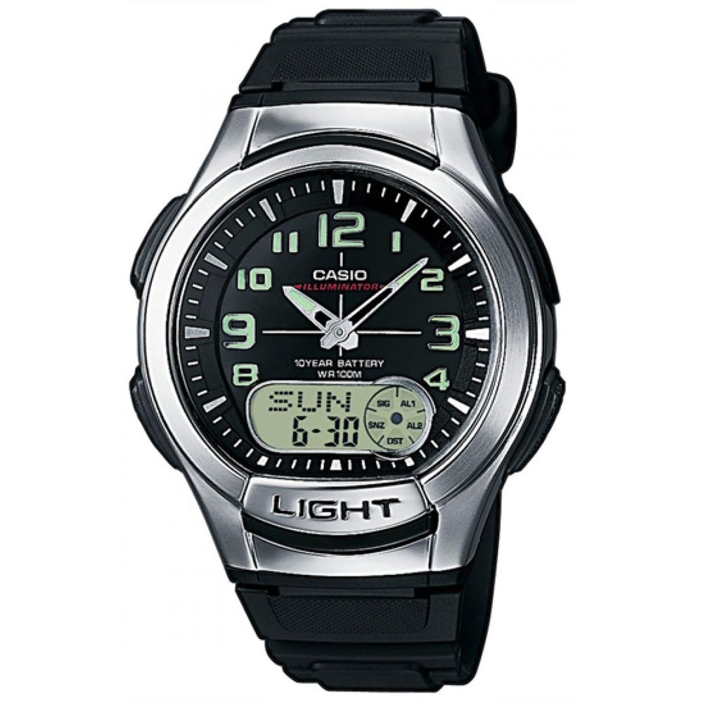 CASIO 超世代強光雙顯時區膠帶錶(AQ-180W-1B)-黑/41mm